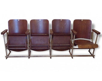 Armchairs cinema theater 50' - Enfilade 4 armchairs - Vintage armchairs Vintage cinema - Entryway armchairs - Armchairs waiting room - loft
