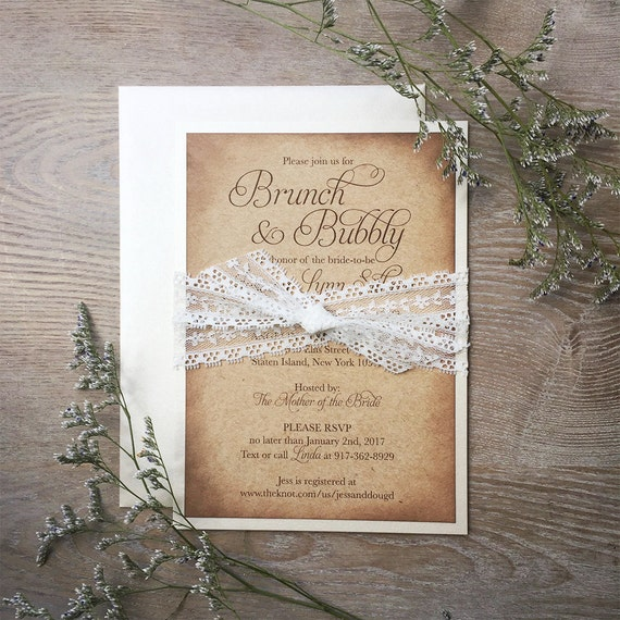 JESSICA - Burlap & Lace Bridal Shower Invitation - Country Lace Bridal Shower Invite - Rustic Bridal Shower Invitation with Ivory Lace Band
