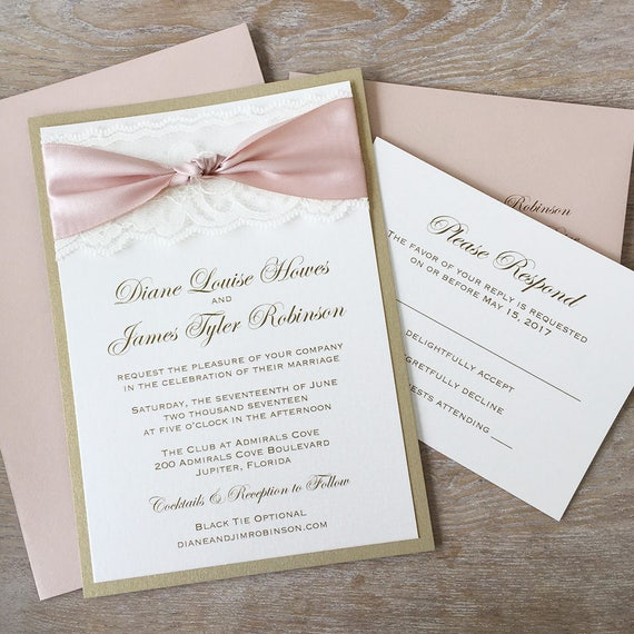 THE KNOT - Blush and Gold Wedding Invitation with Ivory Lace- Elegant Lace Wedding Invitation with Blush Satin Ribbon