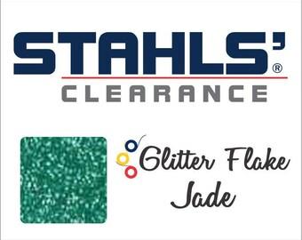 "7"" x 12"" - 15 Craft Sheets - Stahls' Glitter Flake - Iron-on Heat Transfer Vinyl - HTV - Jade"