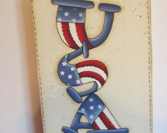 USA Extra large Tag. door decor, wall decor, patriotic decor, forth of July,
