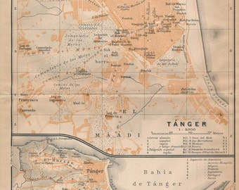 1913 Tangier Morocco Antique Map