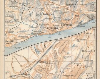 1910 Hastings United Kingdom (Great Britain) Antique map