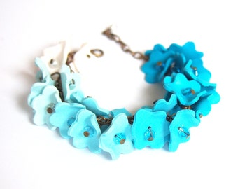 Ombre Blue Bracelet ( flower bracelet turquoise bracelet charm bracelet bridal bracelet polymer clay jewelry wedding bracelet )