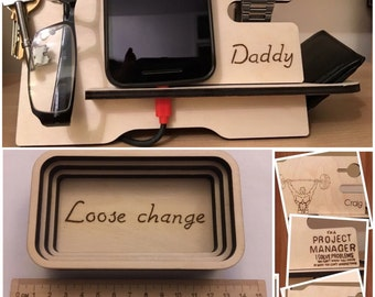 Bundle mens valet stand for wallet, phone, glasses, watch & keys. Plus personalised change dish/coin tray. Pyrography organiser