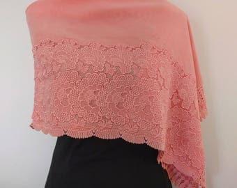 pink velvet and peony floral lace kimono shawl wrap - vintage