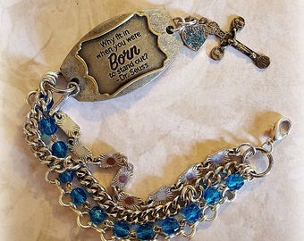 Born to Stand Out Connector Bracelet, Bright Blue Rosary Beads, Chunky Silver Chains Mother's Day Gifts, Repurposed and Upcycled Jewelry