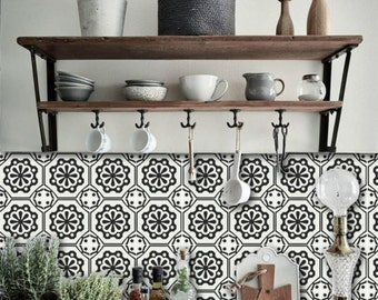 Tile Decals - Tiles for Kitchen/Bathroom Back splash - Floor decals - Testino Vinyl Tile Sticker Pack color Black & Off White