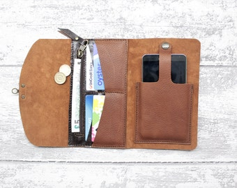 Wallet phone case - leather wallet woman RUSSET chrometan leather - Leather phone sleeve + zipper pocket - swing arm latch phone wallet