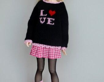 Knitted sweater for minifee, slim msd 1/4 bjd doll.