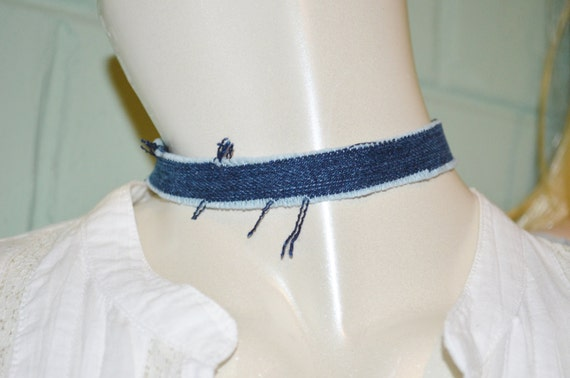 Choker Thin Denim, Dark Denim Choker, Thin Jean Choker, Tight Denim Choker