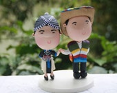 Cake topper. Hmong bride and Mexican groom. Handmade. Fully customizable. Unique keepsake