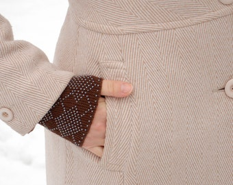 Beaded Wrist Warmers Brown - Unique fingerless gloves - Hand knitted merino wool fingerless gloves with glass beads
