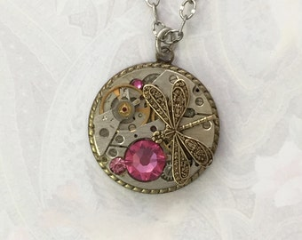Dragonfly necklace with old watch parts, steampunk pendant necklace, cogs and wheels, vintage watch parts,