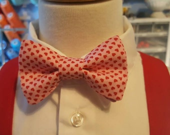 Suspenders or Bow Tie Tiny Hearts Fabric