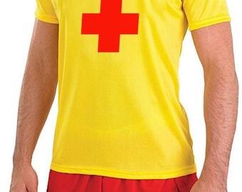 Men's lifeguard T-Shirt & Shorts Fancy Dress Set, Cosplay, Dress Up, Stag Part, Hen Party, Baywatch T-Shirt