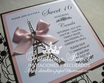 Quinceanera Invitation, Paris Invitation, Eiffel Invitation, Wedding Invitation, Baby shower invitation, Paris 100 invitations