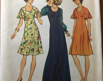 Simplicity 6613 - 1970s Princess Seamed Knee or Maxi Length Dress with Long Gathered or Short Flutter Sleeves - Size 10 12 OR 14