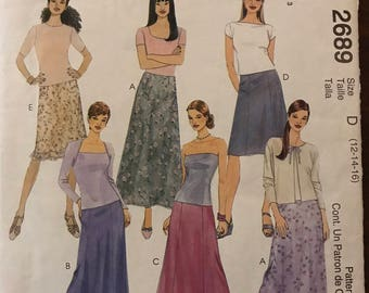 McCalls 2689 - Fashion Basics A Line Skirt in Two Lengths and Gored Sheer Overskirt - Size 12 14 16