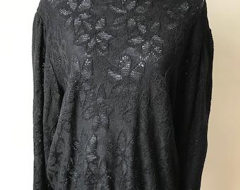 Vintage black flower fine knit jumper