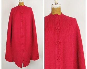 Vintage 1960s Cape /  60s Red Hand Knit Wool Long Cape / One Size