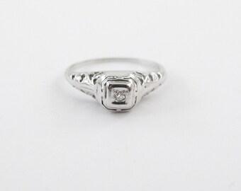 18k White Gold Ring Art Deco Antique Diamond Ring Size 5 3/4