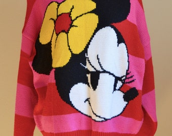 Vintage 90's MINNIE MOUSE Disney Icon cartoon oversized striped red/pink sweater OSFM