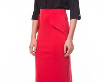 Fashion red skirt asymmetric red skirt Stylish maxi skirt for women Autumn skirt Winter long skirt Party skirt  floor
