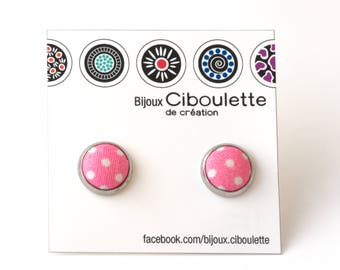 Pink fabric earrings, pink studs, pink earrings, polka dots, Ciboulette Jewelry