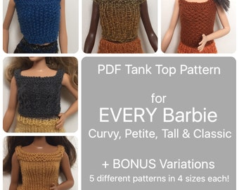 Curvy Barbie Clothes Pattern for 5 Different Knit Tank Tops, instructions also included for Tall, Petite, & Classic Sized Barbie, Easy
