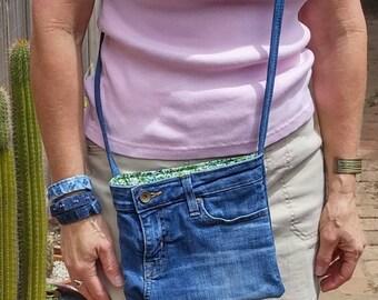 Denim crossbody bag, messenger bag, Big Star jeans bag, small electronics bag, jeans bag, tote travel bag denim, shoulder bag, ooak gift D77