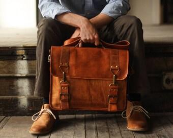Custom Calgary Men's Leather Messenger Bag