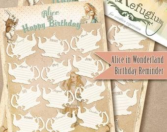 printable Alice in Wonderland Birthday Reminder/ Digital Collage Sheet/ INSTANT DOWNLOAD/Planer