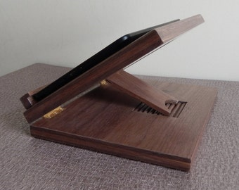 Lap Desk, Tablet Stand, Walnut, iPad Stand with Adjustable Support, Lap Tablet Tray, Lap Tray, Tech Gift, Anniversary Gift, Kindle Stand,
