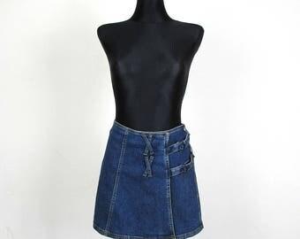 Vintage 90's Blue Denim  Miтi Skirt Low Waist Wrap Skirt  Size M