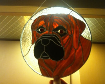 Mastiff Stained Glass Panel