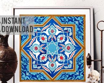 Printable Art, Mosaic Tile Design Watercolor Art, Traditional Turkish Ottoman Floral Home Decor, Moroccan Tile Design, Digital Download 015