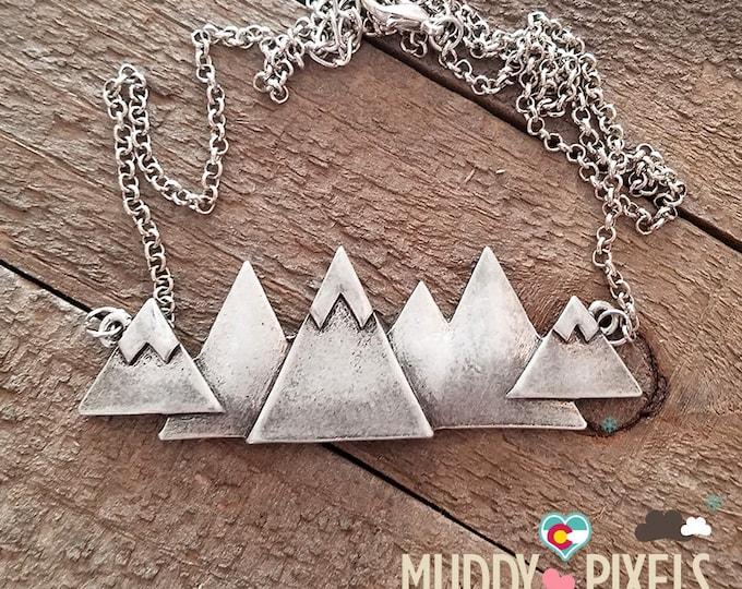 Gorgeous Large Colorado Mountain Pride Necklace - Snow Peaks!