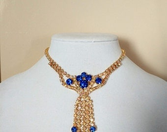 GLAMOROUS SAPPHIRE Rhinestone NECKLACE / Vintage / Stunning Statement necklace  / 1950's / High Quality / New Old Store Stock / gift boxed
