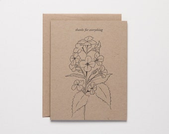 thanks for everything - botanical illustration - gratitude note - elegant thank you - effusive letterpress cards by Of Note Stationers