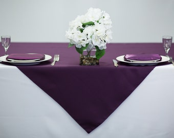 54 Inch Square Plum Tablecloth Polyester | Wedding Table Overlay