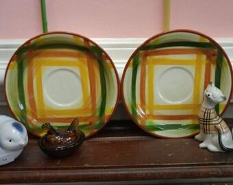 Vintage Metlox Poppytrail Vernonware Homespun Saucers Set of 2--MINT!!