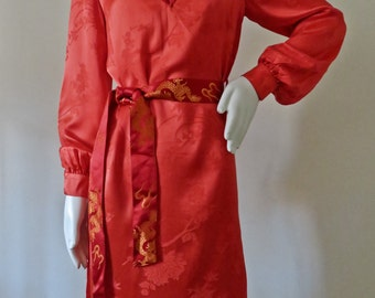 1970s Thea Porter Couture for Giorgio Beverly Hills Chinoiserie Silk Mini Dress / Tunic w/ Waist tie and bell sleeve