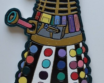 Doctor Who Inspired hand painted wood carving of a Dalek wall hanging