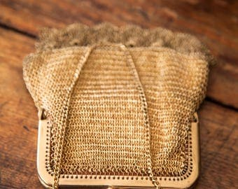 Antique French Gold Plated Crocheted Mesh Purse or Wallet - Shabby Chic - Free Shipping Within the USA