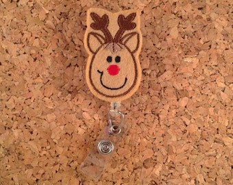 Reindeer Badge Reel, Christmas Badge Reel, ID Badge Reel, Felt Badge Reel, Retractable Name Holder, Nurse Gift,  173