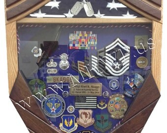 Air Force Logo Senior Master Sergeant (E8) Shadow Box - 3x5 Flag