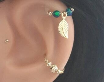 Tiny Leaf Opal Cartilage Earring,Cartilage Hoop Earrings,14K Gold Filled,925 Sterling Silver Tiny Hoops, 16-22 Gauge , 7-12mm Inner Diameter
