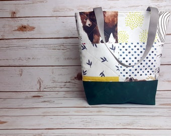 Wildlife/Mountain Quilted tote bag