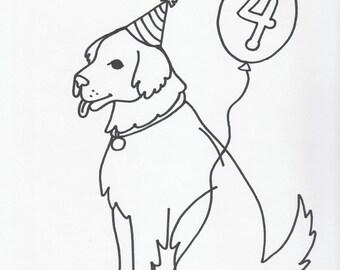 Pet Cartoon Birthday Pic of Your Pet B&W Custom